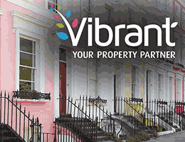 A row of colourful houses overlaid with the Vibrant logo.