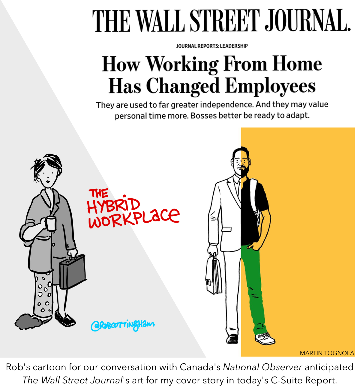 Two images juxatposed: Rob's cartoon for our conversation with Canada's National Observer anticipated  The Wall Street Journal's art for my cover story in today's C-Suite Report.