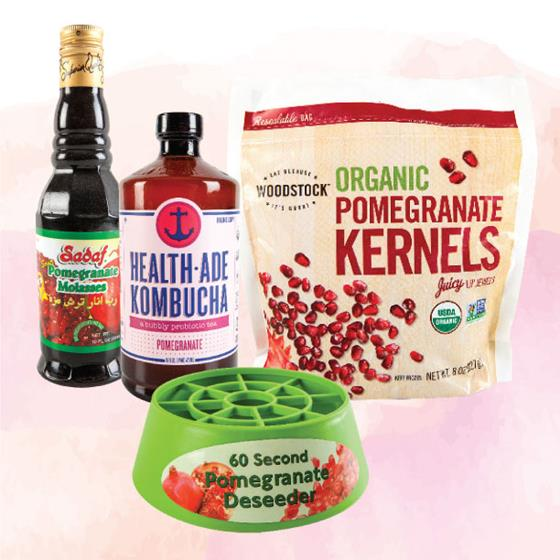 Pomegranate molasses, kombucha, kernels and deseeder