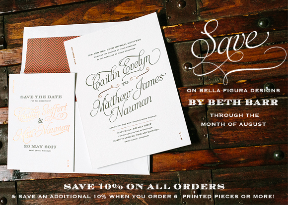 Bella Figura invitations by Beth Barr on sale through the month of August