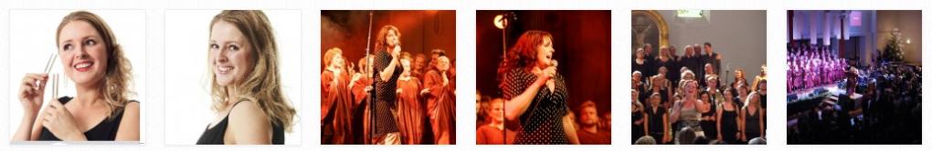 Diverse billeder af Janne Wind med kor