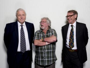 Left to right: Sir David Attenborough, Bill Oddie, John Burton. © David Bebber.