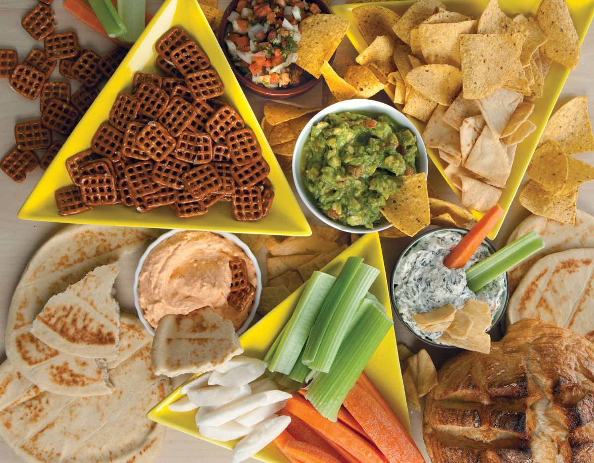 Chips, dips and vegetables