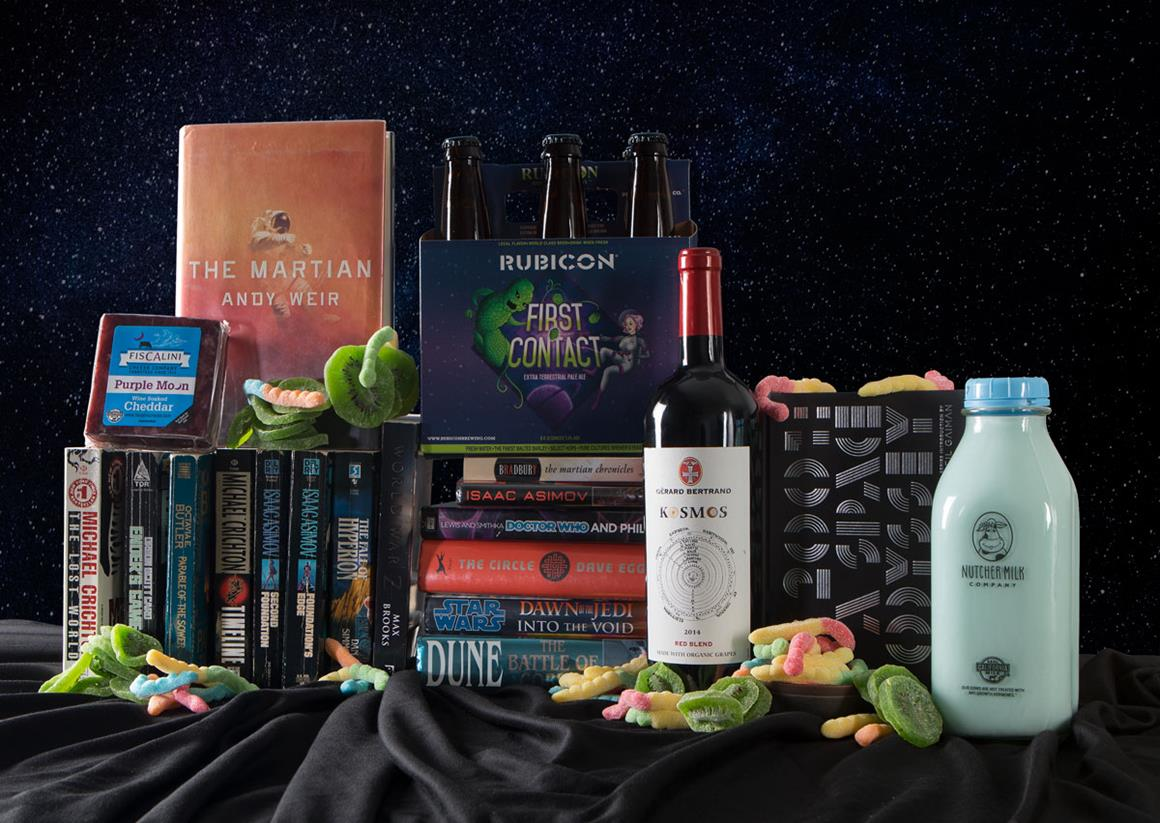 Sci-fi books, drinks and candy