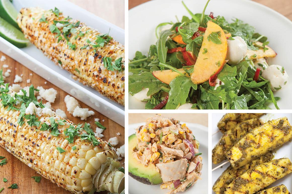 Photo collage of grilled corn, stuffed avocado, peach salad and grilled pineapple