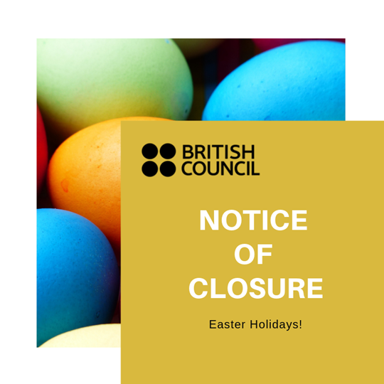 Notice of closure banner, colourful eggs at the back