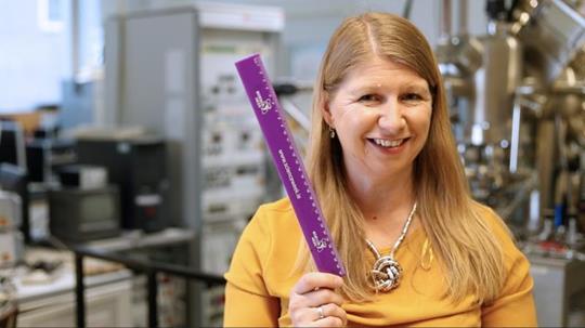 Wendy Sadler holding a purple ruler