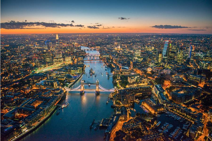 London evening Aerial Photo