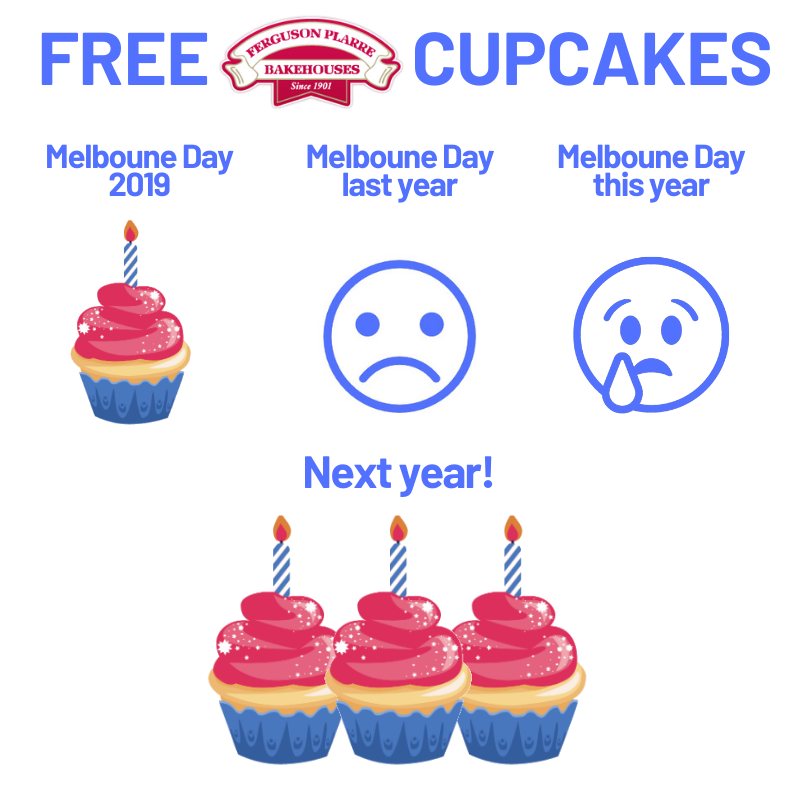 Get three free cupcakes at Melbourne Day celerbations next year