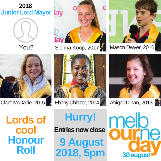 Enter now - Junior Lord Mayor Competition