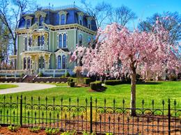 Ira Dick – Portrait of Silas Robbins House on an early spring day
