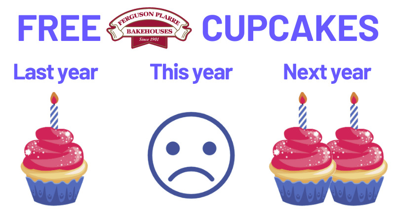 Get two free cupcakes next year