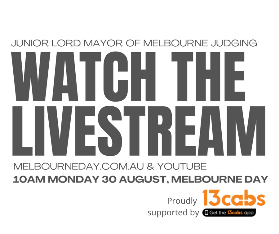 Junior Lord Mayor judging livestream on YouTube and at MelbourneDay.com.au