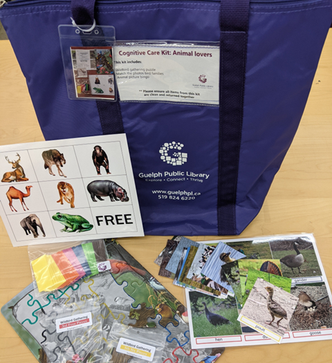 Photograph of a cognitive care kits available at the library. Search for cognitive care kit in the library's catalogue.
