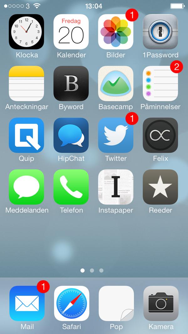 Min hemskärm på iOS 7, just nu