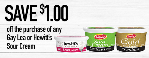 Gay Lea products lined up: Hewitt's Goat Sour Cream, Gay Lea Lactose Free Sour Cream and Gay Lea Gold Sour Cream.