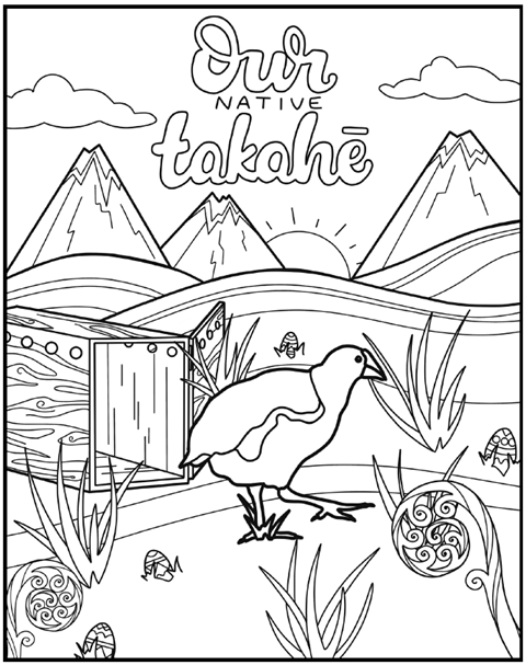 Takahē colouring in activity.