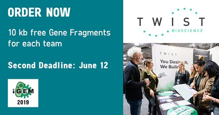 ORDER NOW 10kb free Gene Fragments for each team. Second deadline: June 12