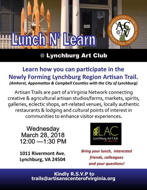 Lynchburg Region Artisan Trail Naming Event, Jan 23, Point of Honor Historic Home, 5:30 pm