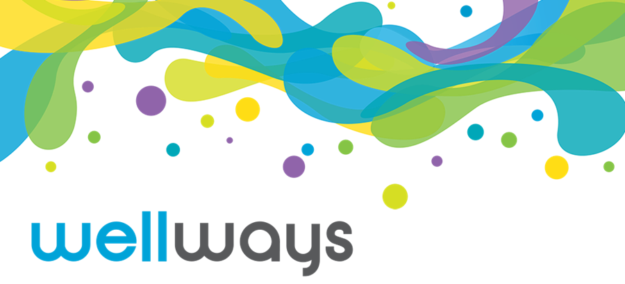 Green, blue, yellow and purple blobs and the Wellways logo