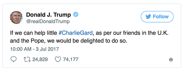 President of the United States tweet to Charlie Gard