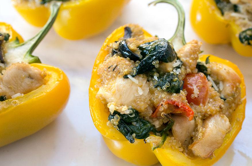 Chicken & quinoa-stuffed peppers