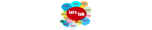 Let's Talk speech bubble logo illustrated in bright colors from Parent Family & Community Engagement