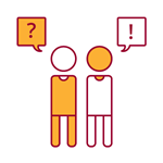 red and yellow icon of one person asking a question and another person answering