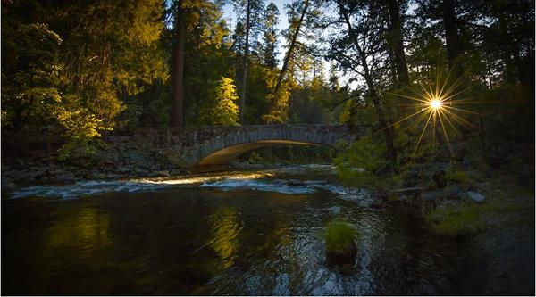 The sun begins to set over a stone bridge and a flowing river flanked with dogwood blooms.