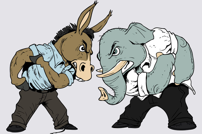 A cartoon image of the republican elephant and the democratic donkey getting into presidential debate and preparing for a fight