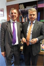PAC'S Chief Executive Officer Peter Sandiford (left) and Parliamentary Under-Secretary of State for Children and Families, Tim Loughton MP