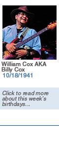Birthdays: William Cox AKA Billy Cox: 10/18/1941