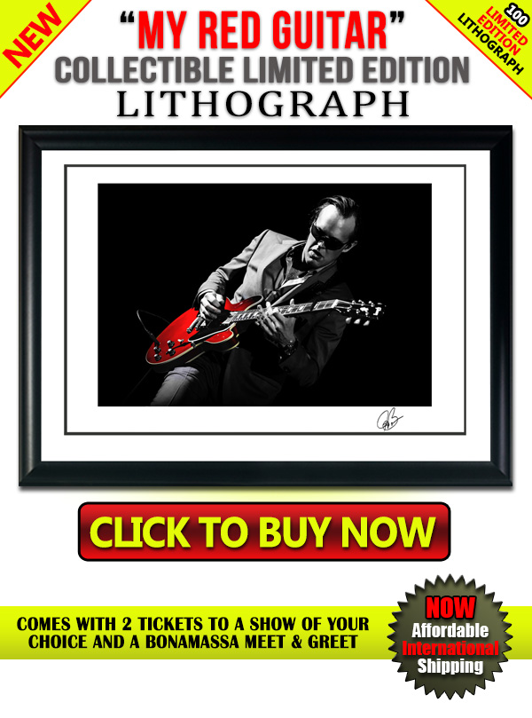 Joe Bonamassa 'My Red Guitar' Collectible Limited Edition Lithograph. 100 Limited Edition Lithograph. Click To Buy Now! Comes with 2 tickets to a show of your choice and a Bonamassa meet & greet. Now affordable international shipping.