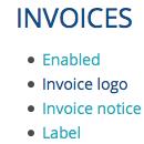 Invoices Settings Screenshot