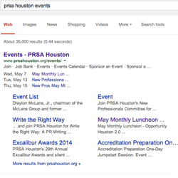 Displayed Search Results for Rich Snippets Events