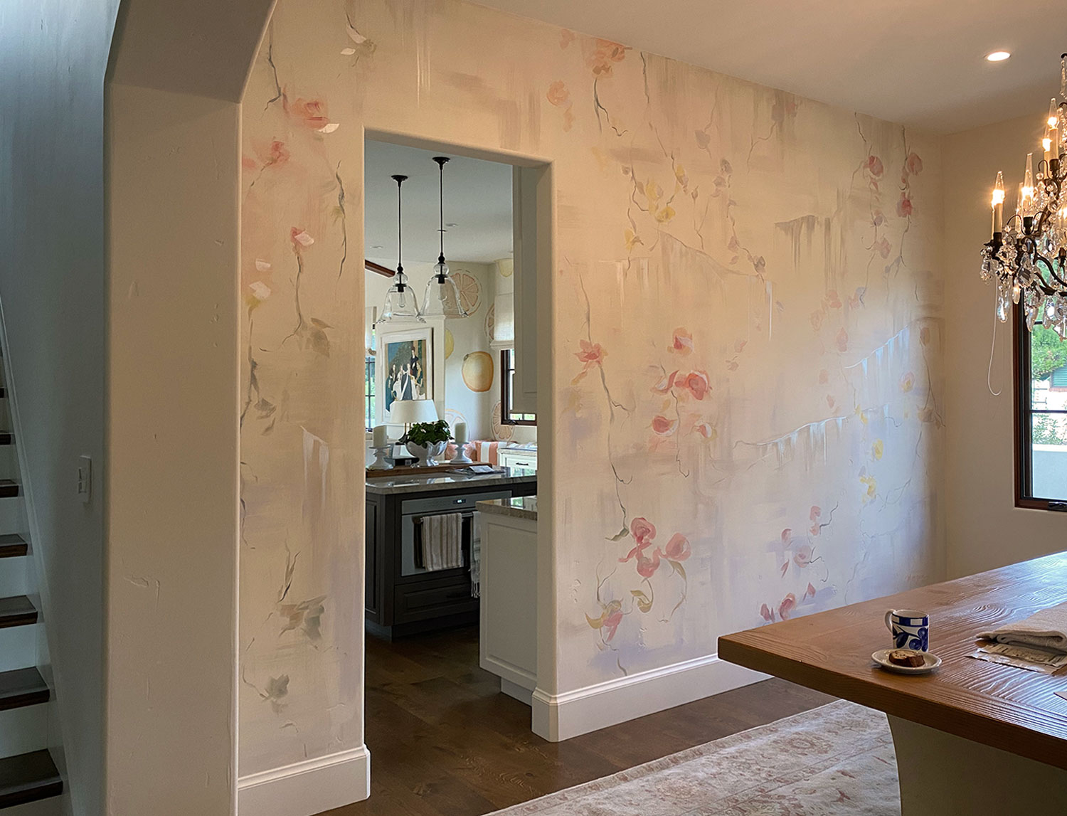 Orchid Mural Painting in Dining Room of Private Residence