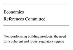 Image of front cover of the Senate Inquiry final report into non-conforming building products