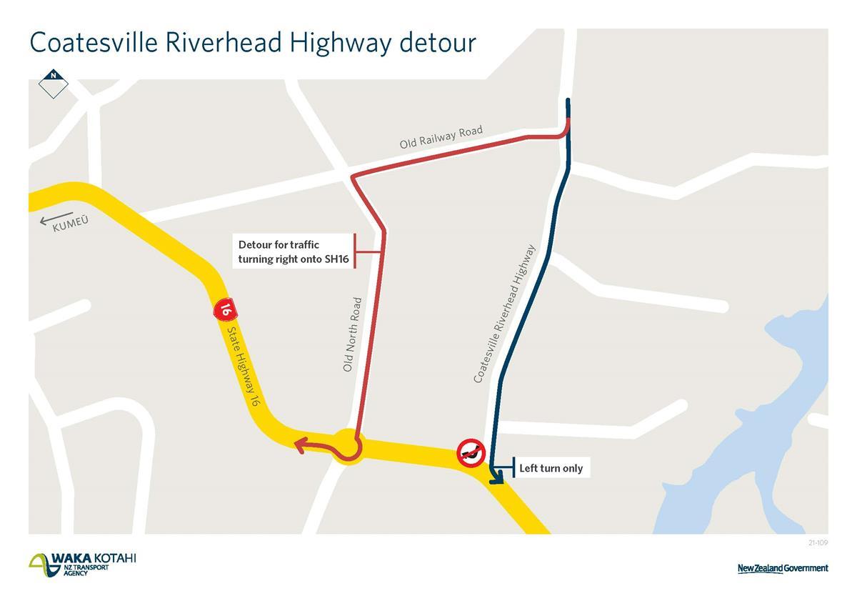 SH16 / Coatesville-Riverhead highway intersection detour map