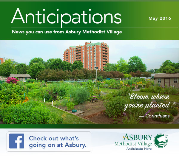 Anticipations - May 2016. Check out what's going on at Asbury on Facebook