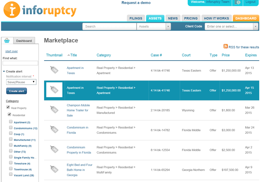 Asset listing