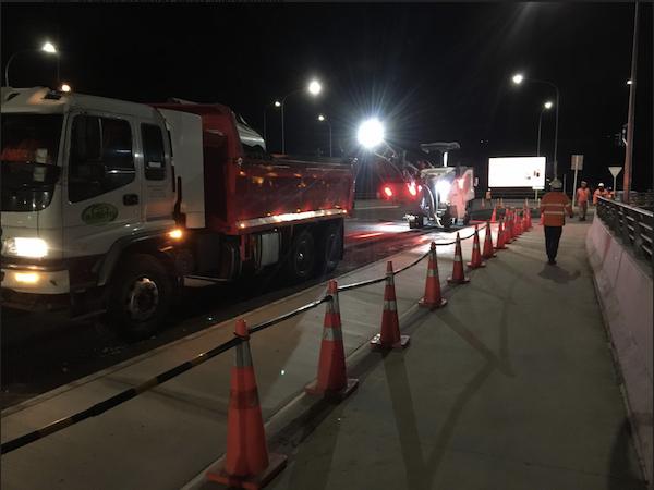 Night works on the StLukes Road Overbridge