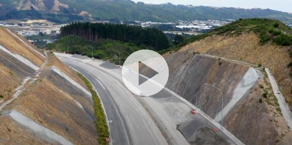 Motorway cutting through hillside