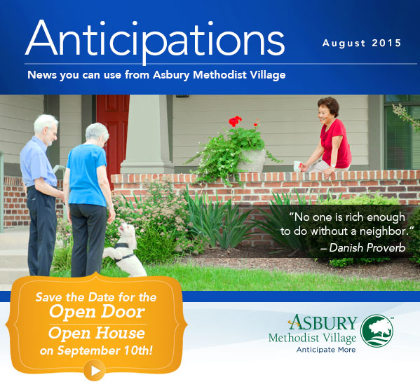 Anticipations - August 2015. Save the Date for the Open Door, Open House on September 10th!