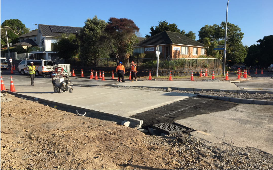 Concrete pour for the raised table crossings at Duncan Maclean Link