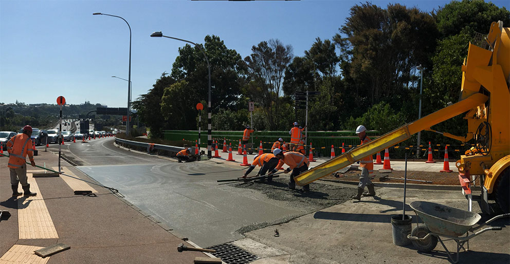 Concrete pour for the off-ramp raised table crossing