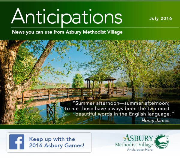 Anticipations - July 2016. Keep us with the 2016 Asbury Games