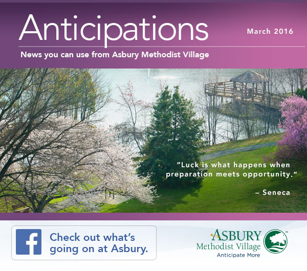 Anticipations - March 2016. Check out what's going on at Asbury on Facebook
