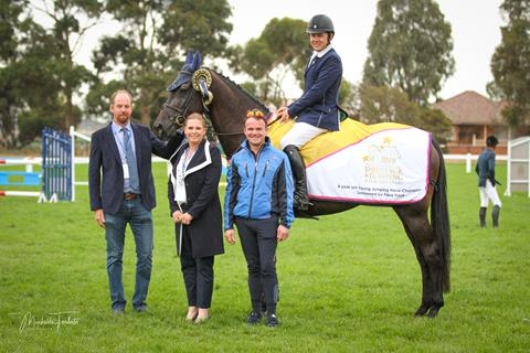 Jumping Judges Rory Hovell, Becky Jenkins and Franz-Josef 'Peppi' Dahlmann with Phillip Lever winner of 4 Yr Old championship on JMH Veritas  📷: Michelle Teralto