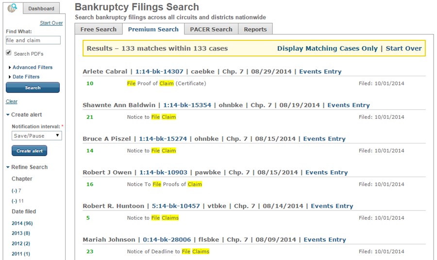 Results of File a Claim search
