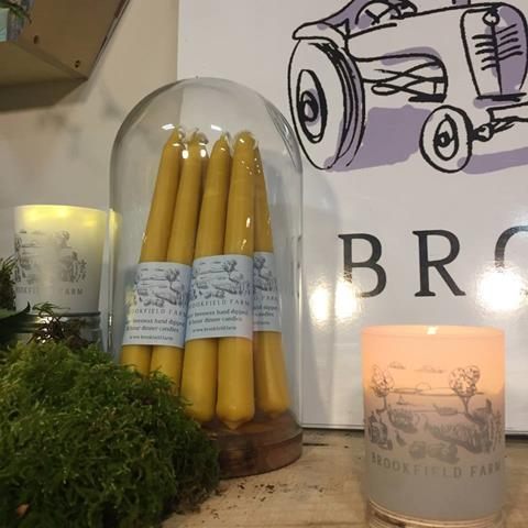 Hand dipped beeswax dinner candles